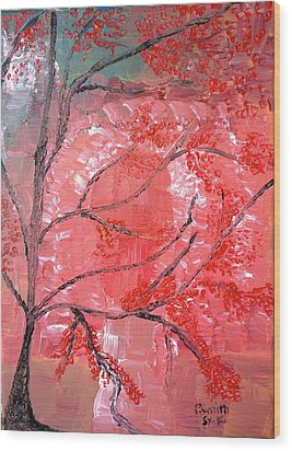 Red Tree Wood Print by Pretchill Smith