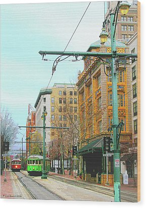 Wood Print featuring the photograph Red Trolley Green Trolley by Lizi Beard-Ward