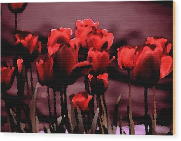 Red Tulips At Dusk Wood Print by Penny Hunt