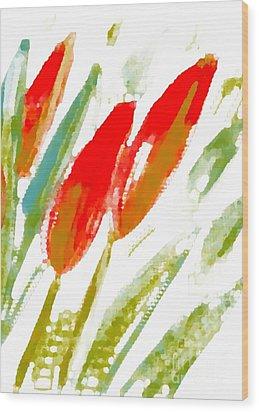 Wood Print featuring the digital art Red Tulips by Barbara Moignard