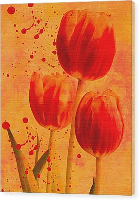 Wood Print featuring the photograph Red Tulips by James Bethanis