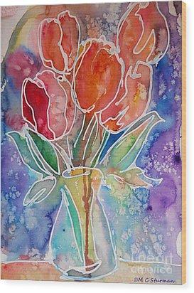 Red Tulips Wood Print by M C Sturman