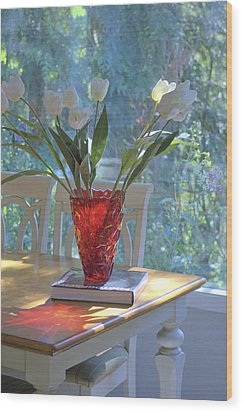 Red Vase With Flowers In Window Wood Print