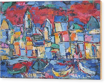 Red Venice Wood Print