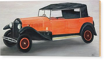 Red Vintage Car Wood Print by Ronald Haber