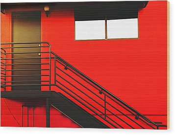 Red Wall Wood Print by James Bethanis
