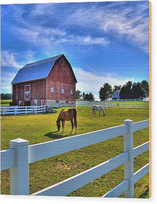 Red White And Barn Wood Print by Coby Cooper