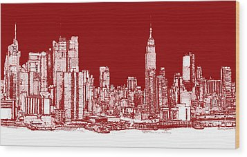 Red White Nyc Skyline Wood Print by Adendorff Design