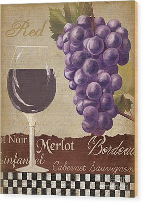 Red Wine Collage Wood Print by Grace Pullen