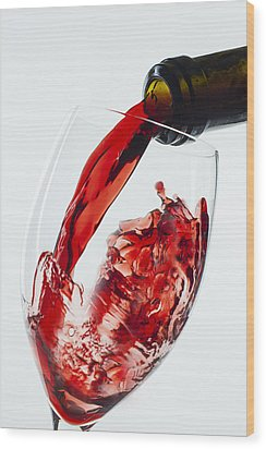 Red Wine Pour Wood Print by Garry Gay