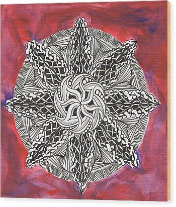 Red Zendala Wood Print