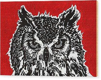 Redder Hotter Eagle Owl Wood Print by Julia Forsyth