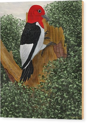 Wood Print featuring the painting Redhead Woodpecker by Walter Colvin