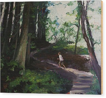 Redwood Forest Study Wood Print by Emily Jones