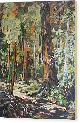 Redwoods Maui Wood Print by Rae Andrews