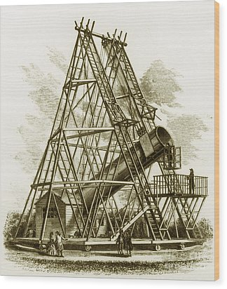 Reflecting Telescope, 1789 Wood Print by Science Source