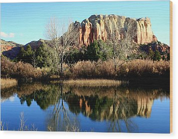 Wood Print featuring the photograph Reflection At Ghost Ranch by Laurel Talabere
