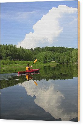 Reflection Of A Kayaker On The Merrimack Wood Print by Rick Frost