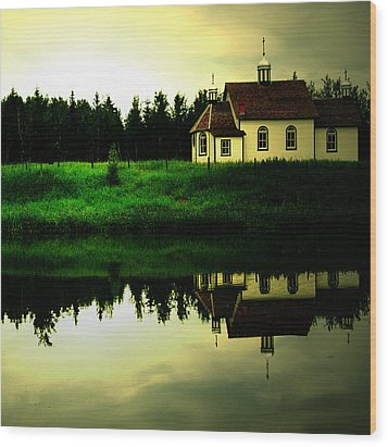 Reflection Of Faith  Wood Print by Empty Wall