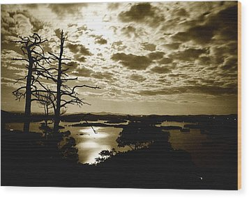 Wood Print featuring the photograph Reflection Of Moonlight On Squam by Rick Frost