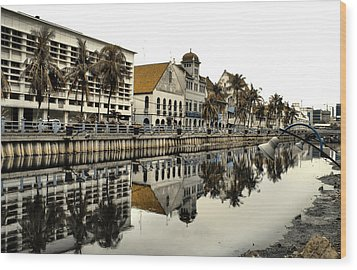 Reflection Of Old Buildings Wood Print by Aris and Ressy