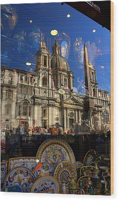 Wood Print featuring the photograph Reflection Piazza Navona by Caroline Stella