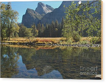 Wood Print featuring the photograph Reflections In Autumn by Johanne Peale