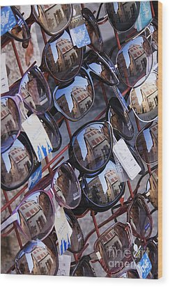 Reflections In Sunglasses Wood Print by Jeremy Woodhouse