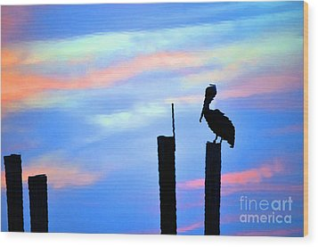 Wood Print featuring the photograph Reflections In Water With Pelican by Dan Friend