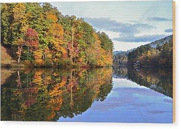 Reflections Of Autumn Wood Print by Susan Leggett
