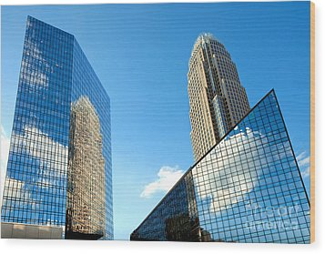 Reflections Of Bank Of America Tower Wood Print by Patrick Schneider