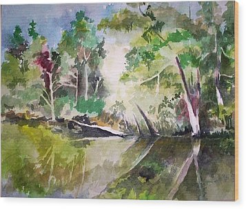 Wood Print featuring the painting Reflections Of Blackwater River Fl. by Richard Willows