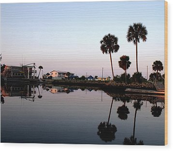 Reflections Of Keaton Beach Marina Wood Print by Marilyn Holkham