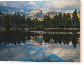 Reflections On A Lake Wood Print by Anne Rodkin