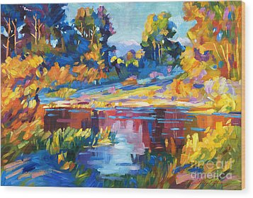 Reflections On A Quiet Lake Wood Print by David Lloyd Glover