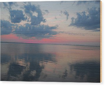 Reflections On The Sound Wood Print by Linda Mesibov