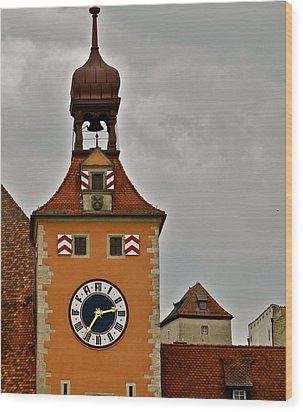 Regensburg Clock Tower Wood Print by Kirsten Giving