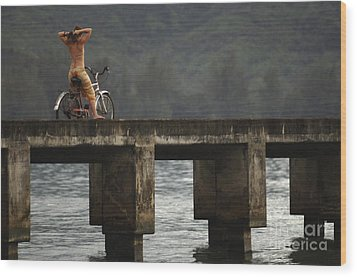 Relaxed Ride Hanalei Bay Wood Print by Bob Christopher