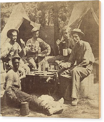 Relaxed Scene Of Soldiers From The Army Wood Print by Everett