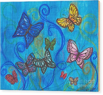 Releasing Butterflies II Wood Print by Denise Hoag