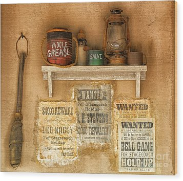 Relics Of The Old West Wood Print by Sandra Bronstein