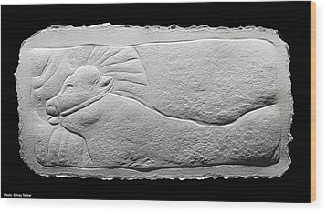 Relief Bull Wood Print by Suhas Tavkar
