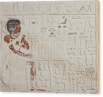 Relief Of Ka-aper With Offerings - Old Kingdom Wood Print by Egyptian fourth Dynasty