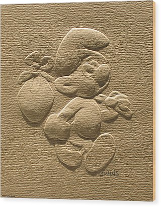 Relief Smurf On Paper  Wood Print