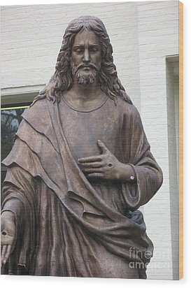 Religious Jesus Statue - Christian Art Wood Print by Kathy Fornal