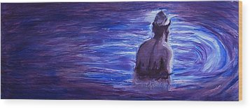 Wood Print featuring the painting Religious Nude Male Dipping In Mikveh Baptism In Swirling Water Pool In Purple Blue  by M Zimmerman