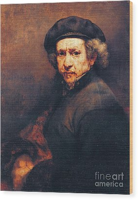 Rembrandt Self Portrait Wood Print by Pg Reproductions