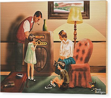 Remember When We Listened To The Radio Wood Print by Frank SantAgata