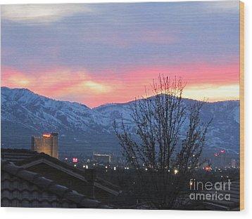 Reno At Night Wood Print by Phyllis Kaltenbach