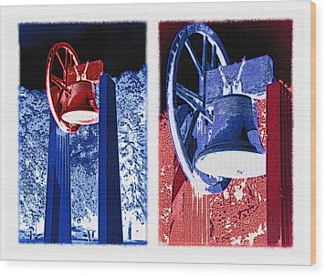 Replica Of Liberty Bell - Americana Rwb Diptych - Inverted Wood Print by Steve Ohlsen